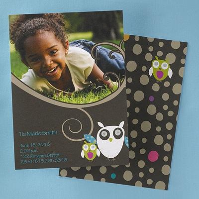 Owl Photo Birthday Invitation
