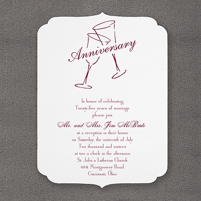 Anniversary Flutes with Smooth Scallops - Invitation - Bright White