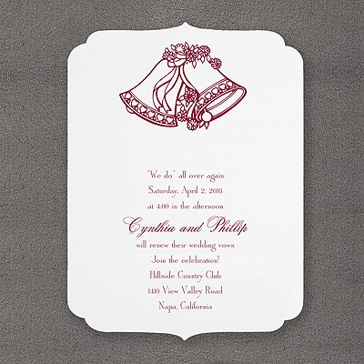 Wedding Bells with Smooth Scallops - Invitation - Bright White