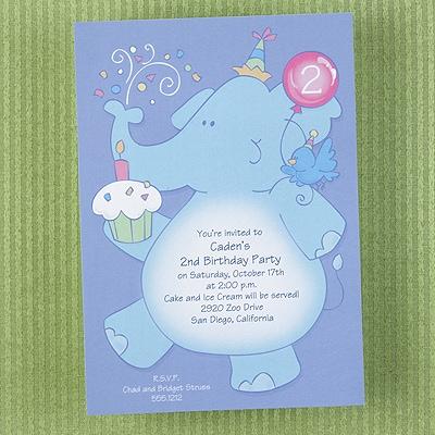Party Elephant - Invitation - Shimmer