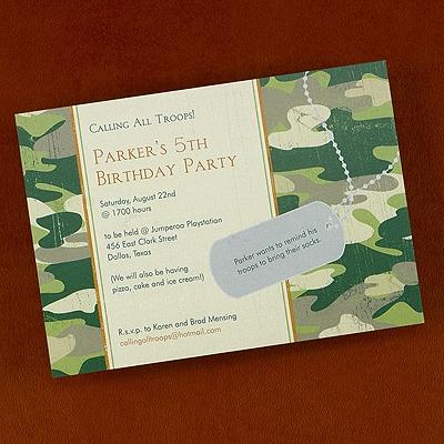 Camouflage - Birthday Invitation - Bright White