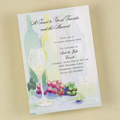 Chalk Drawn Wine Bottles - Party Invitation - Bright White