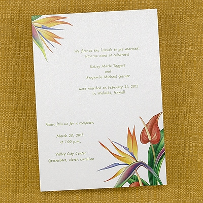 Tropical Flowers - Invitation - Bright White