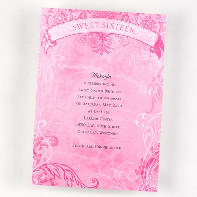 Sweet Sixteen Filigree - Birthday Invitation - Bright White