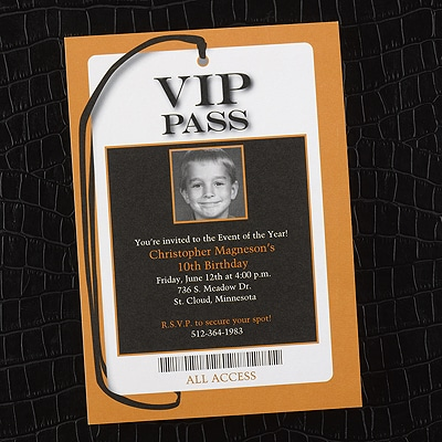 All Access VIP Pass - Photo Birthday Invitation - Bright White