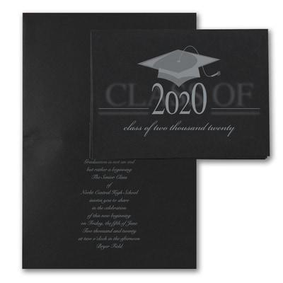 Vintage Grad Cap - Invitation - Black
