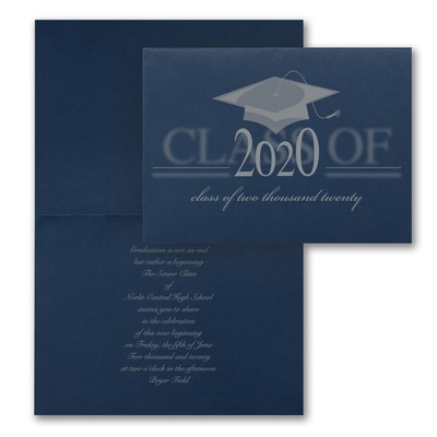 Vintage Grad Cap - Invitation - Navy