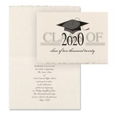 Vintage Grad Cap - Invitation - Parchment Deckle