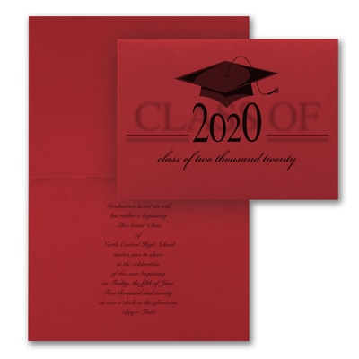 Vintage Grad Cap - Invitation - Red