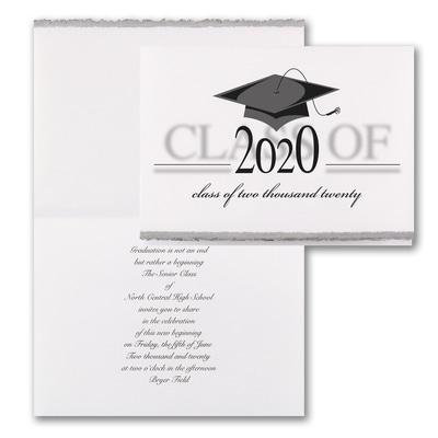 Vintage Grad Cap - Invitation - Silver Deckle
