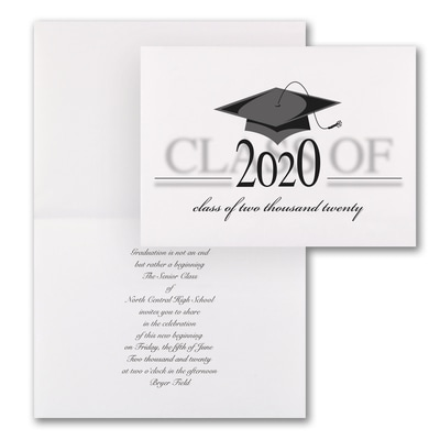 Vintage Grad Cap - Invitation - White