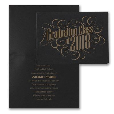 Graduating with Class - Announcement - Black