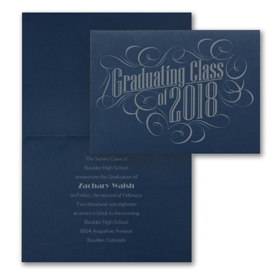 Graduating with Class - Announcement - Navy