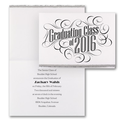 Graduating with Class - Announcement - Silver Deckle