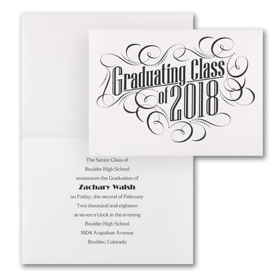 Graduating with Class - Announcement - White