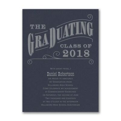 Grad Type - Announcement - Navy