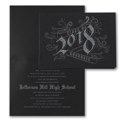 Vintage Graduate - Announcement - Black