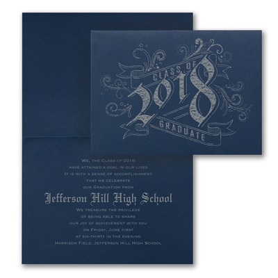 Vintage Graduate - Announcement - Navy