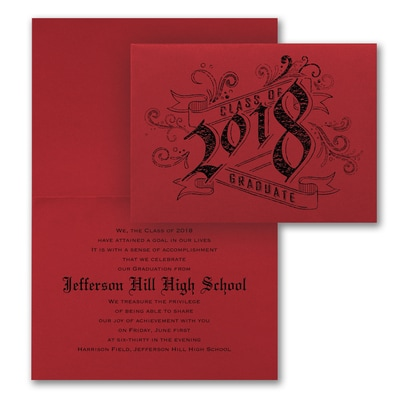 Vintage Graduate - Announcement - Red