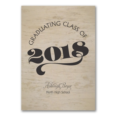 Wood Grain Grad - Invitation