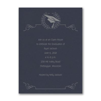 Cap and Wreath - Invitation - Navy