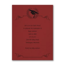 Cap and Wreath - Invitation - Red