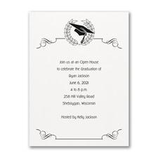 Cap and Wreath - Invitation - White