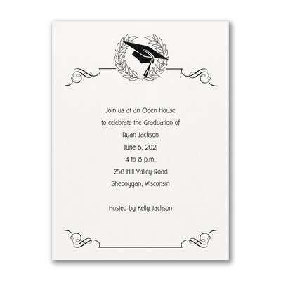 Cap and Wreath - Invitation - White