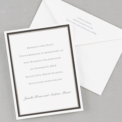 White With Black And Silver Foil Border Vertical Invitation