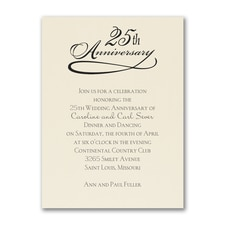 25 Years Celebration - Invitation - Ecru