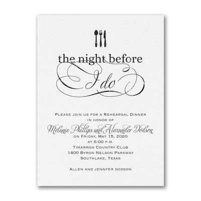 The Night Before I Do - Invitation - White
