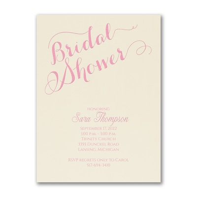 Bridal Shower Elegance - Invitation - Ecru
