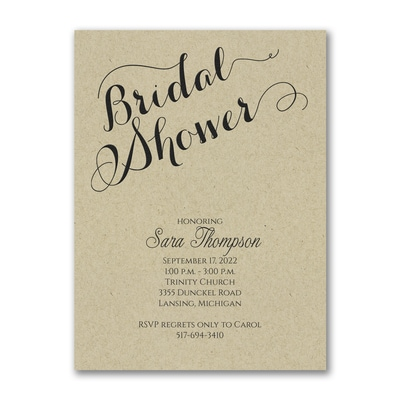 Bridal Shower Elegance - Invitation - Kraft