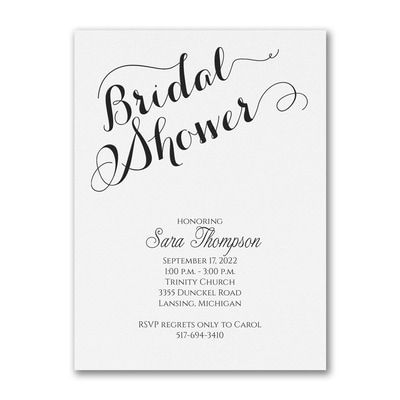 Bridal Shower Elegance - Invitation - White