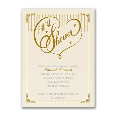 Heart Bridal Shower - Invitation - Ecru