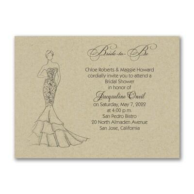 Shower Mermaid Dress - Invitation - Kraft