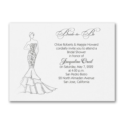 Shower Mermaid Dress - Invitation - White