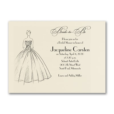Shower Ball Gown - Invitation - Ecru
