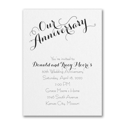 Our Anniversary - Invitation - White Shimmer