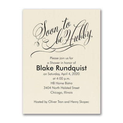 Soon to be Hubby - Invitation - Ecru