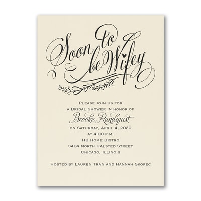 Soon to be Wifey - Invitation - Ecru