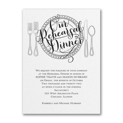 Dinner Classic - Invitation - White Shimmer