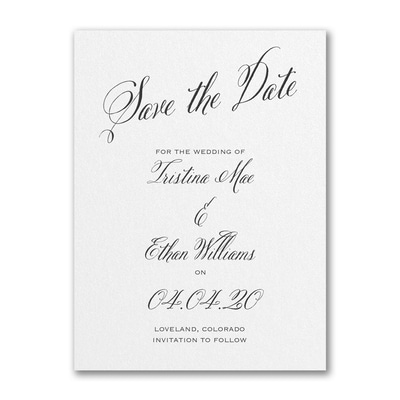 Delightful Date - Save the Date - White Shimmer