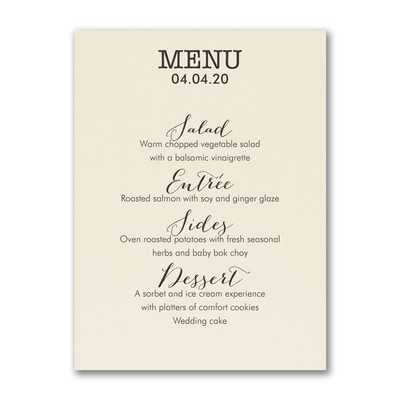 Cuisine Type - Menu Card - Ecru