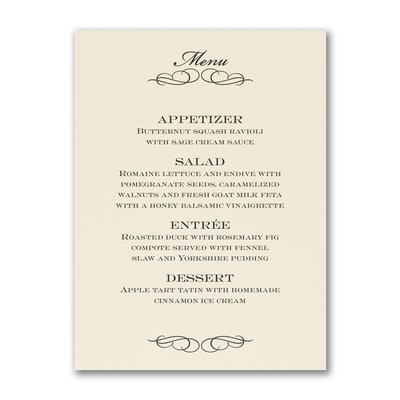 Elegant Flourish - Menu Card - Ecru