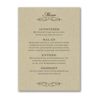 Elegant Flourish - Menu Card - Kraft