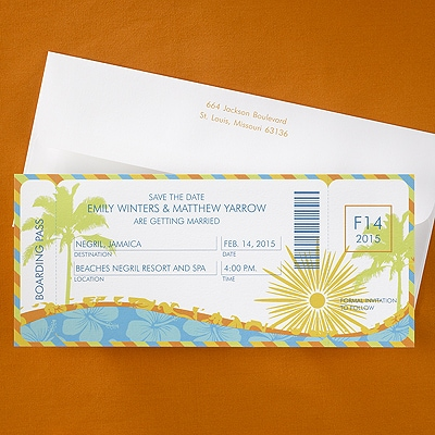 Tropical Boarding Pass - Save the Date Card