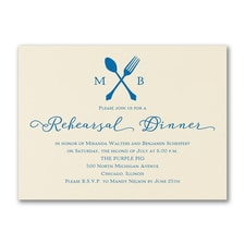 Utensil Temptation - Rehearsal Dinner Invitation - Ecru