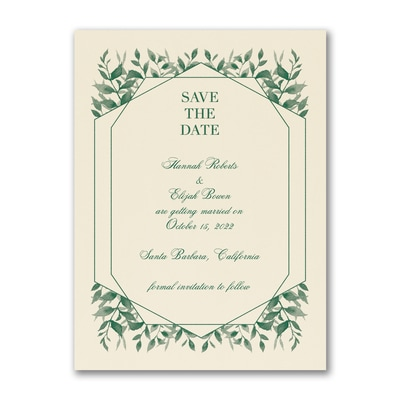 Sophisticated Greenery - Save the Date - Ecru