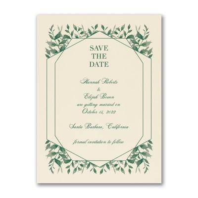 Sophisticated Greenery - Save the Date - Ecru